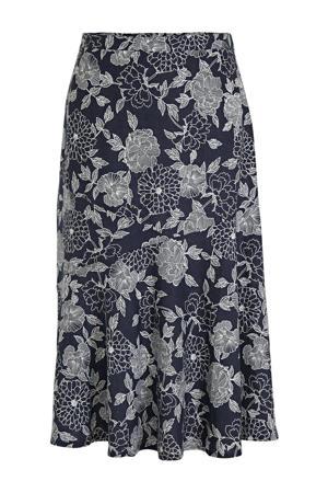 gebloemde rok donkerblauw/wit