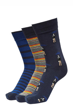 sokken - set van 3 donkerblauw