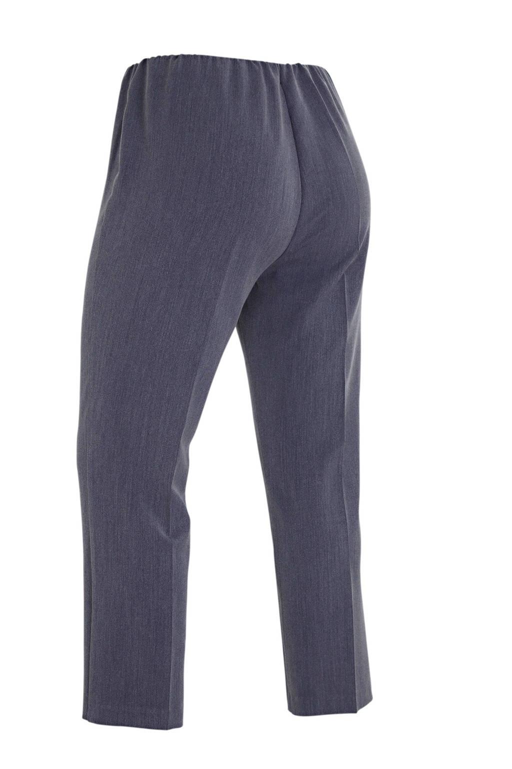 Julipa gemêleerde slim fit broek donkerblauw melange, Donkerblauw melange