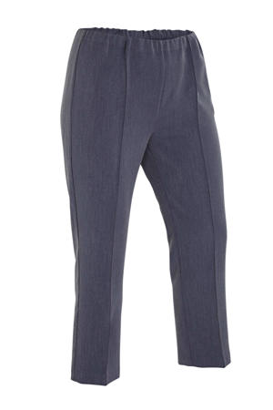 gemêleerde slim fit broek donkerblauw melange