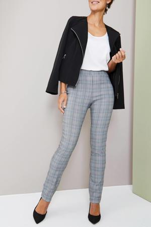 geruite high waist skinny broek grijs/zwart/wit