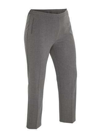 gemêleerde slim fit broek grijs