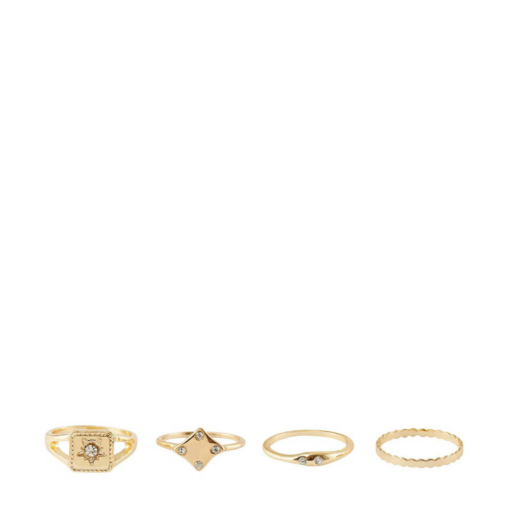 PIECES ring - set van 4 goudkleurig, Goudkleurig