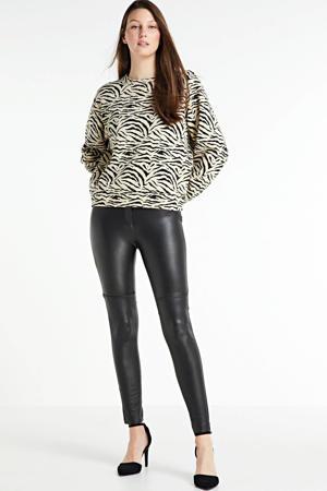 sweater Tello met zebraprint gebroken wit/ zwart