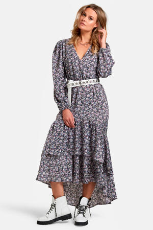maxi jurk Lexie met all over print en volant paars