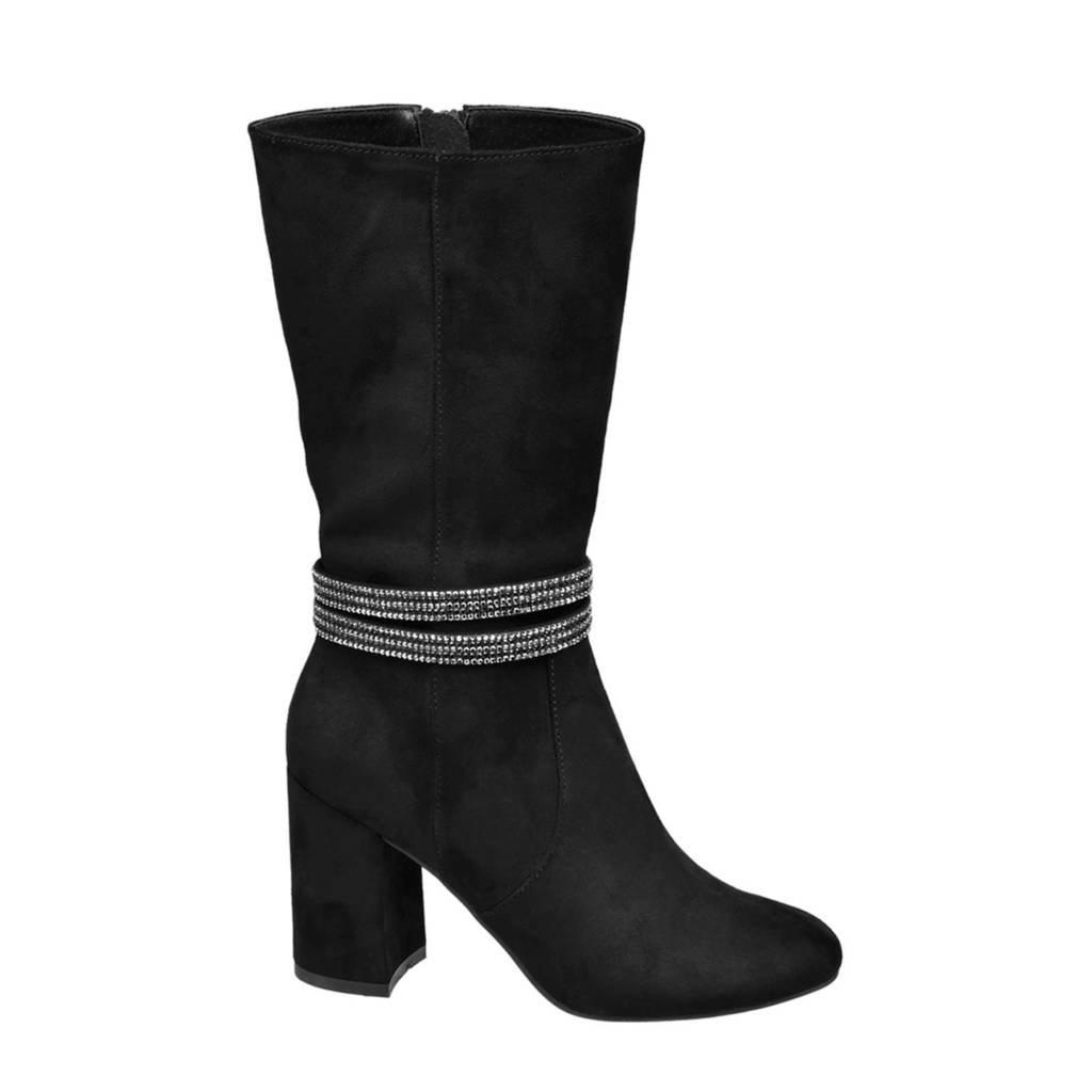 Graceland   laarzen met strass steentjes zwart, Zwart