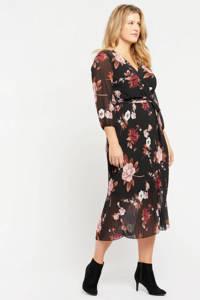 LOLALIZA gebloemde semi-transparante maxi jurk zwart/rood/roze, Zwart/rood/roze
