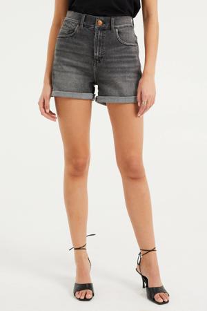high waist slim fit short grijs