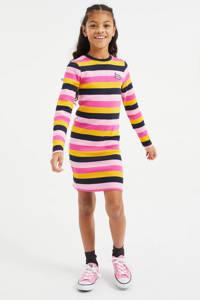 WE Fashion gestreepte jurk roze/geel/zwart, Roze/geel/zwart