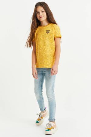 T-shirt met contrastbies geel