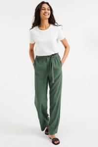 WE Fashion high waist loose fit broek groen, Groen