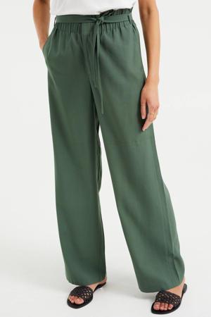 high waist loose fit broek groen