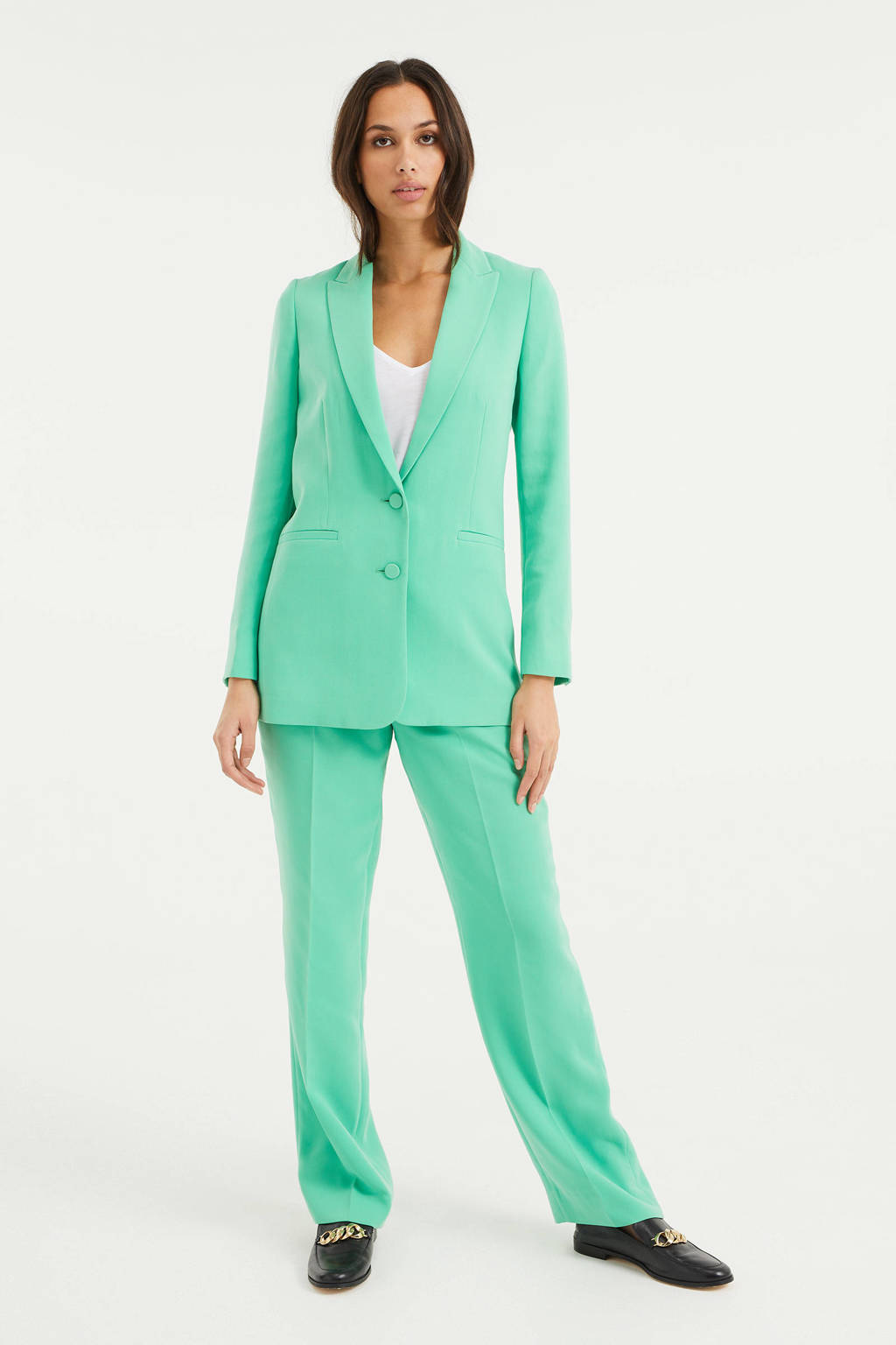 WE Fashion straight fit broek groen, Groen