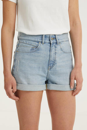 high waist slim fit short light denim