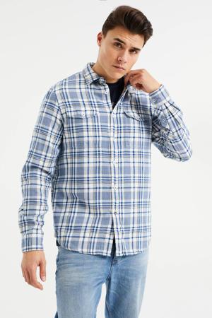 geruit regular fit overhemd worker blue