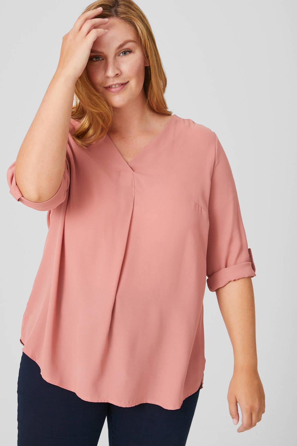 C&A XL Yessica top met plooien roze, Roze