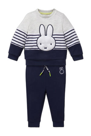 sweater + broek Nijntje donkerblauw/grijs melange/wit