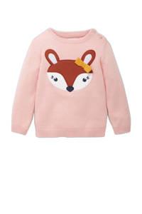 C&A Baby Club trui van biologisch katoen roze/roodbruin/wit, Roze/roodbruin/wit