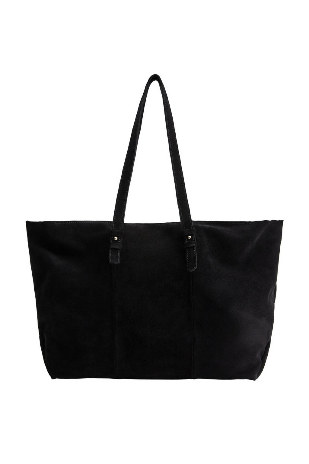 Mango   leren handtas zwart, Zwart