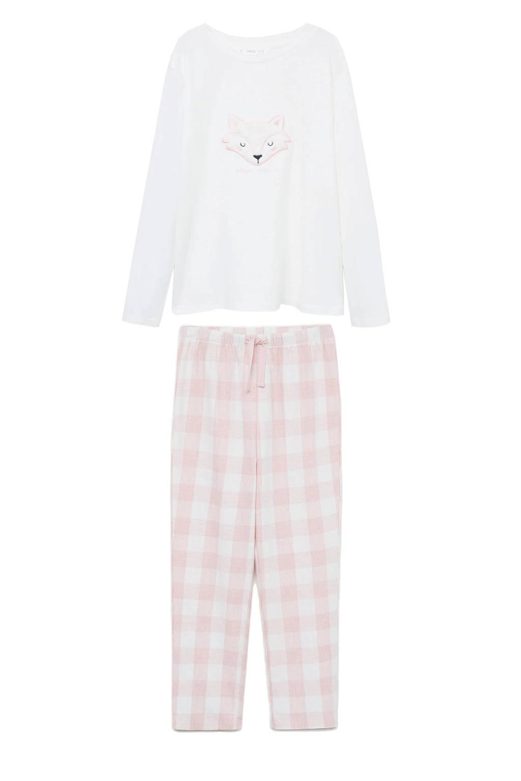 Mango Kids pyjama met print roze/wit, Roze/wit