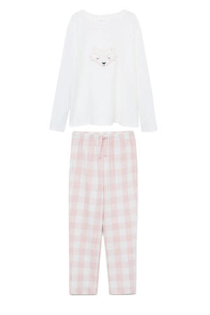 pyjama met print roze/wit