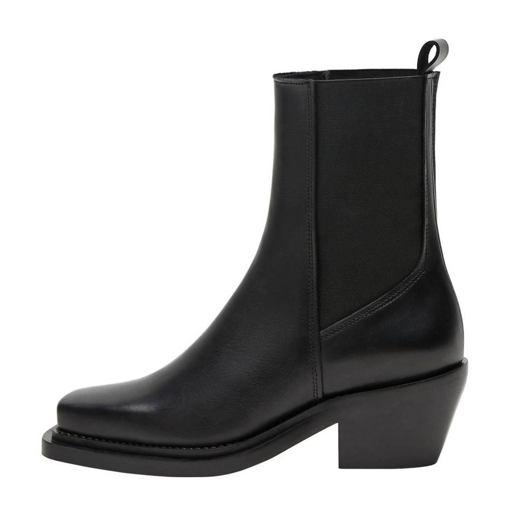 Violeta by Mango   leren chelsea boots zwart, Zwart