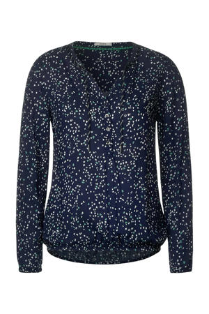 top met all over print donkerblauw/wit/groen