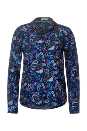 blouse met paisleyprint blauw/groen/donkerrood