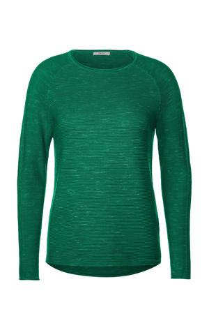 gemêleerde ribgebreide trui groen