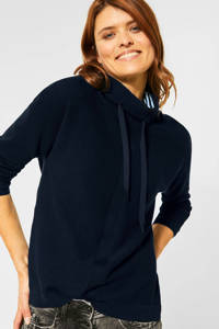 CECIL trui met textuur donkerblauw, Donkerblauw