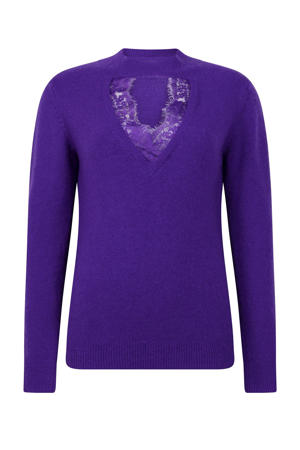 gebreide trui met kant paars