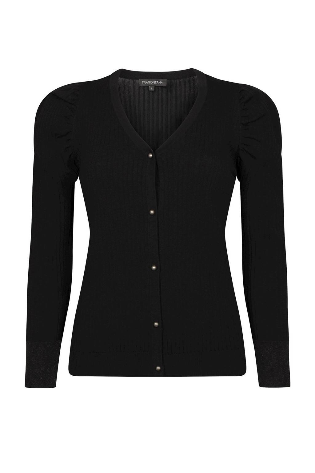 Tramontana ribgebreid vest zwart, Zwart