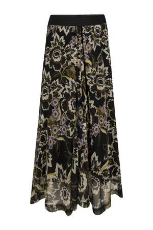 semi-transparante rok met all over print en plooien zwart/olijfgroen/paars
