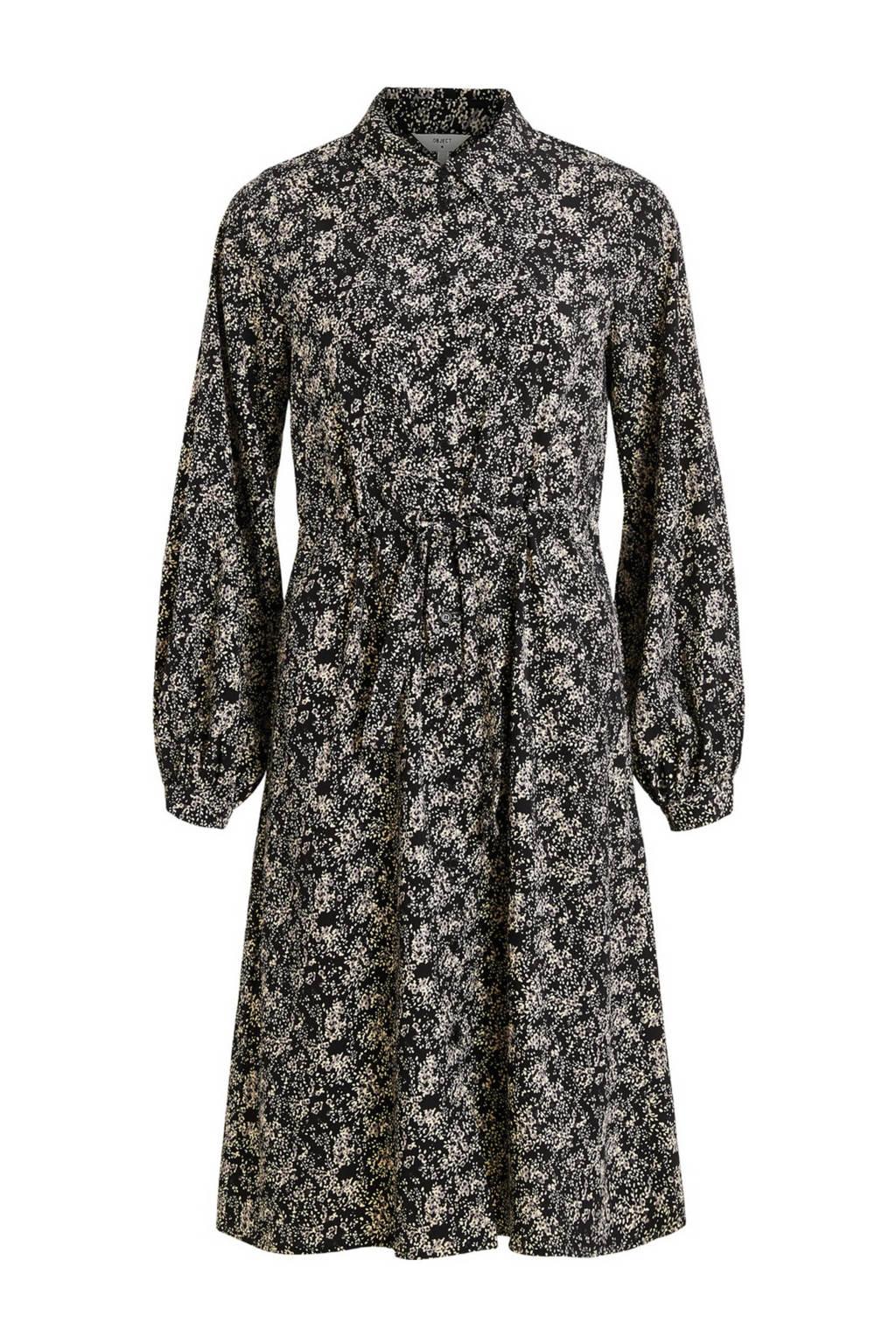 OBJECT blousejurk met all over print zwart, Zwart