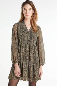 OBJECT blousejurk OBJFREDERIKKE met all over print zwart, Zwart