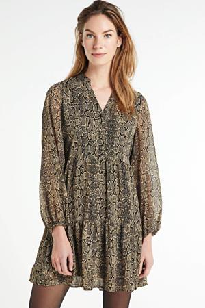 blousejurk OBJFREDERIKKE met all over print zwart