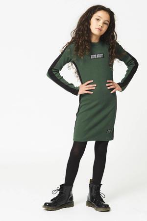 ribgebreide jurk Dieke met contrastbies en borduursels donkergroen/zwart