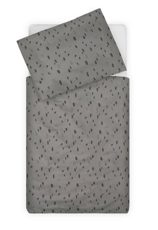 Jollein katoenen ledikant dekbedovertrek 100x140 cm Spot storm grey, Grijs