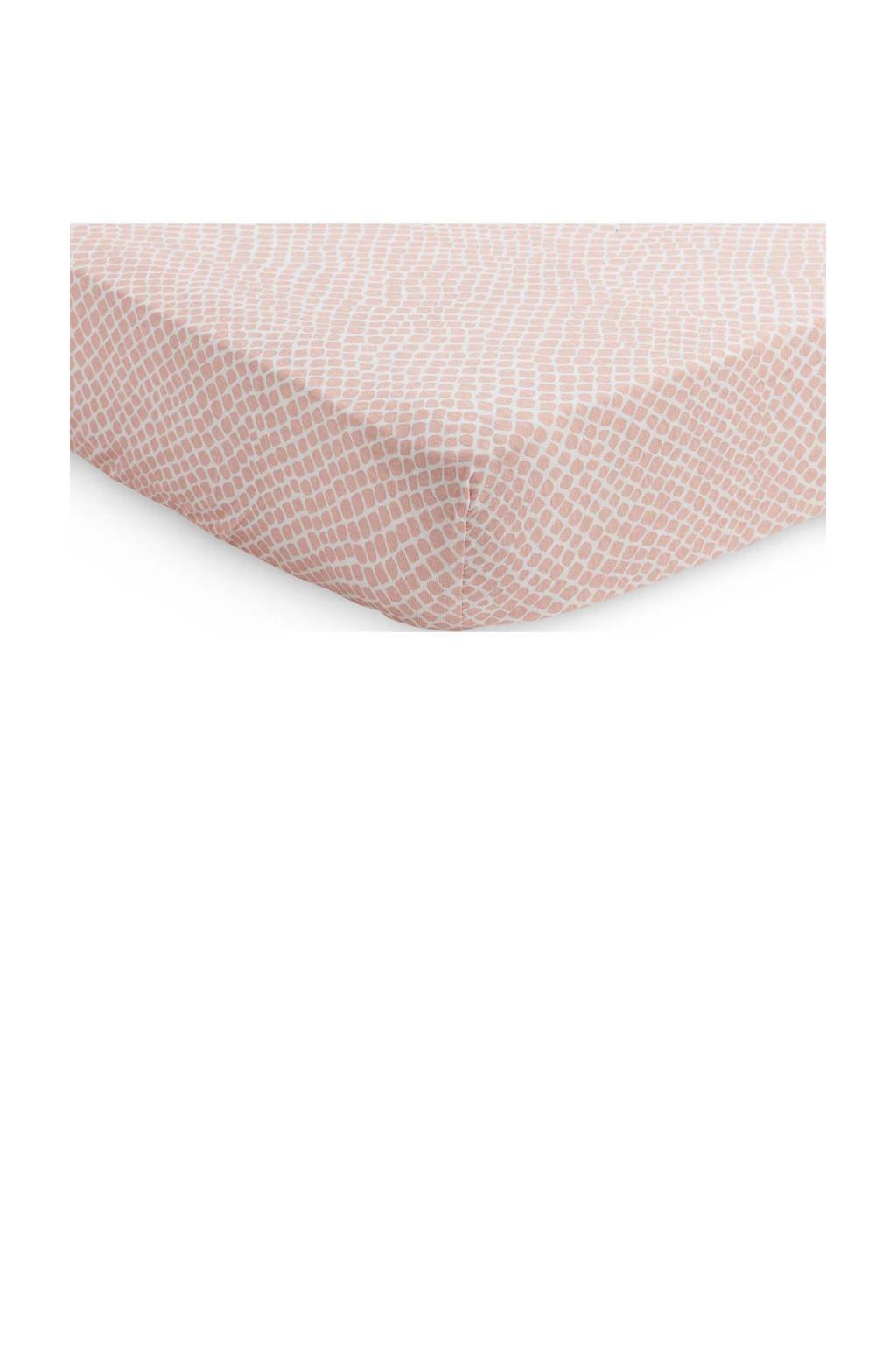 Jollein jersey baby ledikant hoeslaken 60x120cm Snake pale pink, Roze