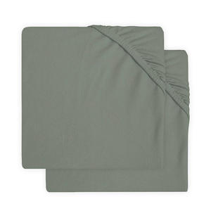 Jollein jersey hoeslaken boxmatras 75x95cm - set van 2 ash green