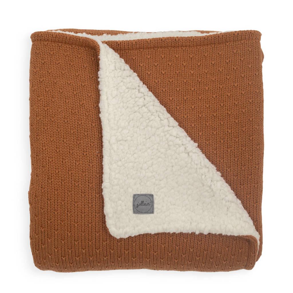 Jollein baby ledikant deken teddy 100x150cm Bliss knit caramel, Bruin/beige