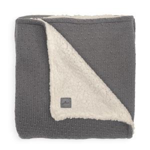 baby ledikant deken teddy 100x150cm Bliss knit grey