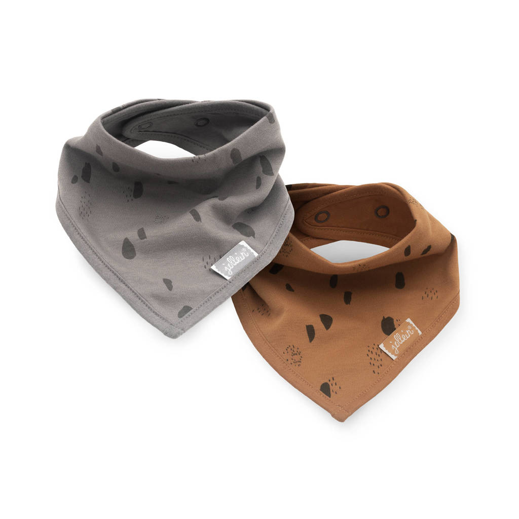 Jollein slab bandana Spot storm - set van 2 grey/caramel, Grijs/bruin