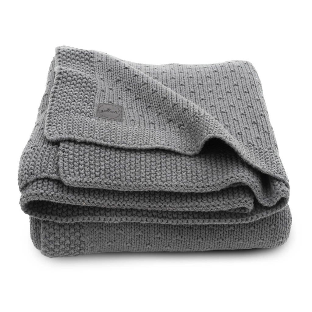 Jollein baby wiegdeken 75x100cm Bliss knit grey, Grijs