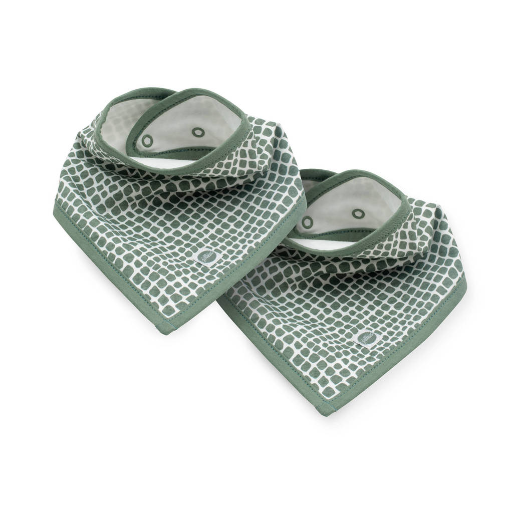 Jollein slab bandana Snake - set van 2 ash green, Groen
