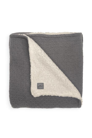 baby wiegdeken teddy 75x100cm Bliss knit grey