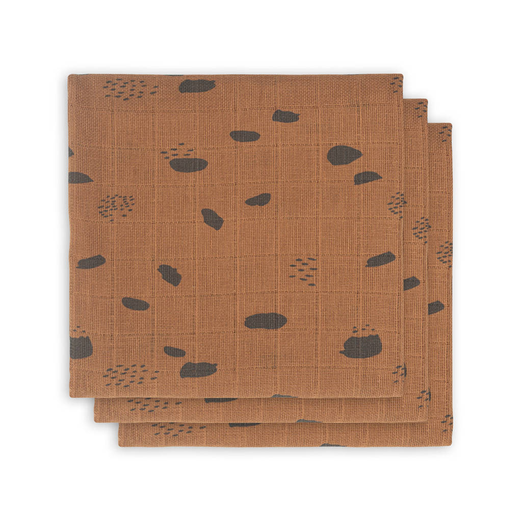 Jollein hydrofiel multidoek small 70x70cm - set van 3 Spot caramel, Caramel