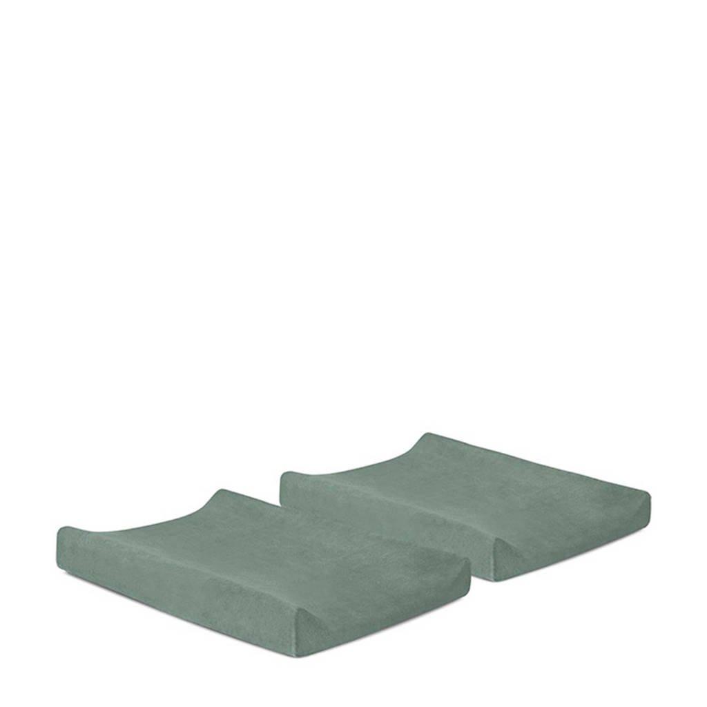Jollein aankleedkussenhoes badstof 50x70cm - set van 2 ash green, Groen