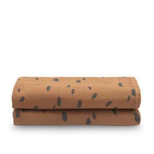 hydrofiel multidoek large 115x115cm - set van 2 Spot caramel