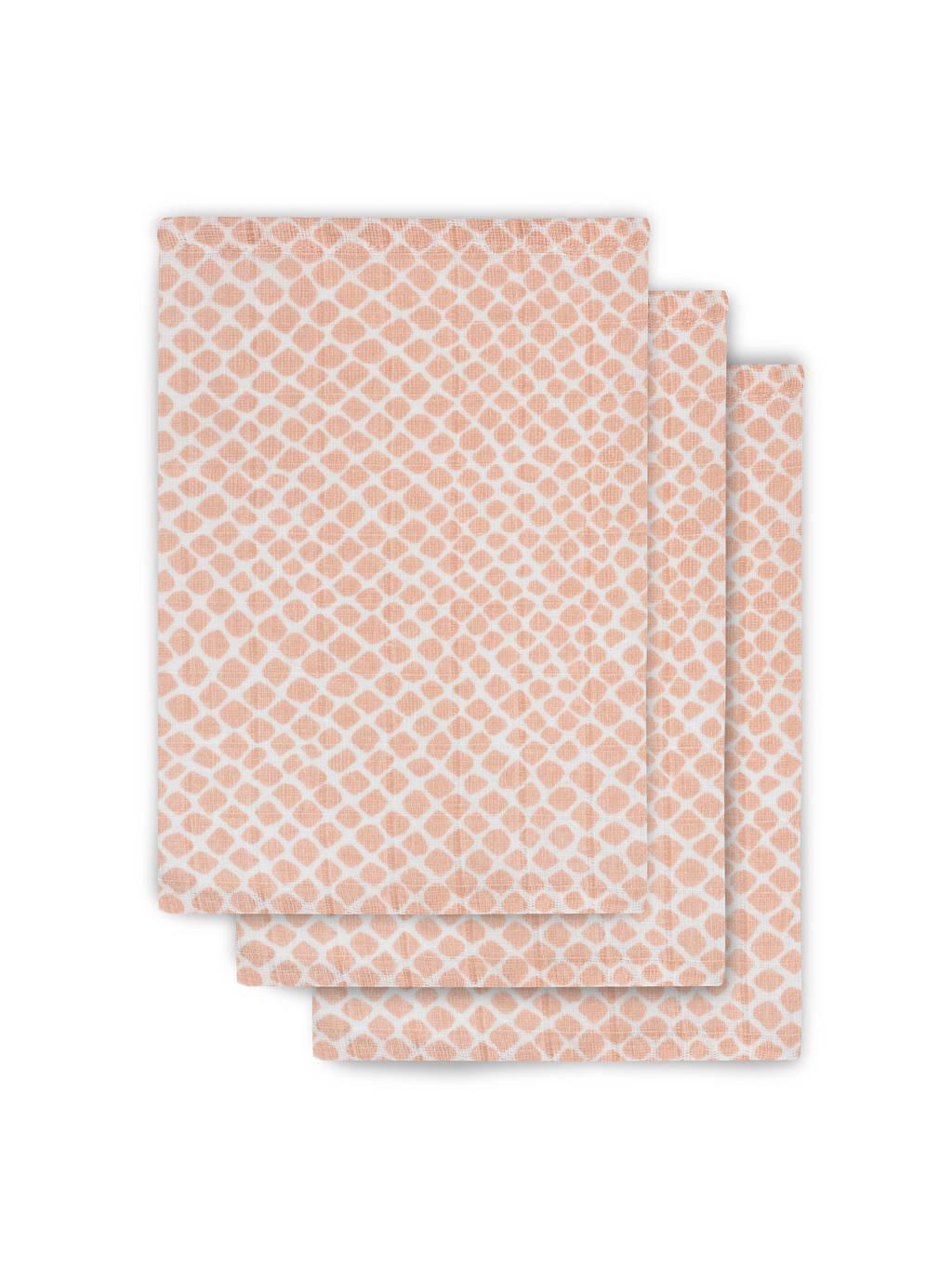 Jollein hydrofiel washandje hydrofiel - set van 3 Snake pink, Roze